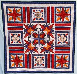 Awesome Quilt Featuring Mariner`s Compass Stars