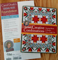 Carol Doak`s Creative Combinations book and Carol Doak Legal-Size Foundation Paper.--ON SALE