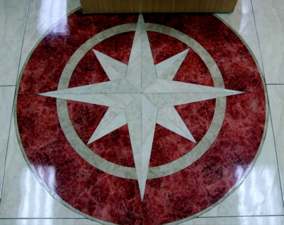 Wonderful Mariner's Compass tile floor in an Auckland store