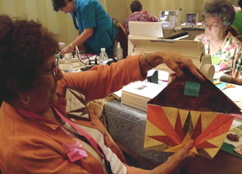 Janice admires her Sunrise Block and setting triangle