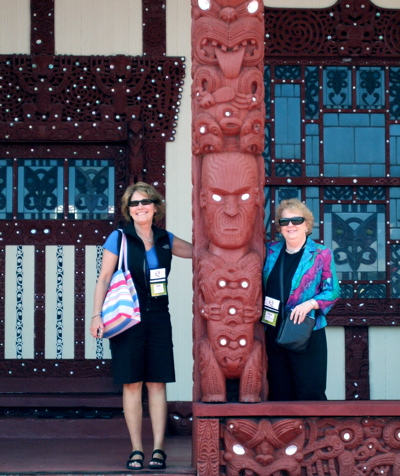 Beth and I in front of a traditional Maori building